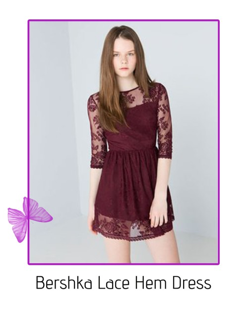 bershka lace hem dress